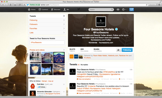 Four Seasons Hotels Twitter page on pc