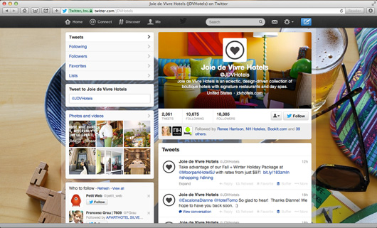 JDV Hotels Twitter page on pc