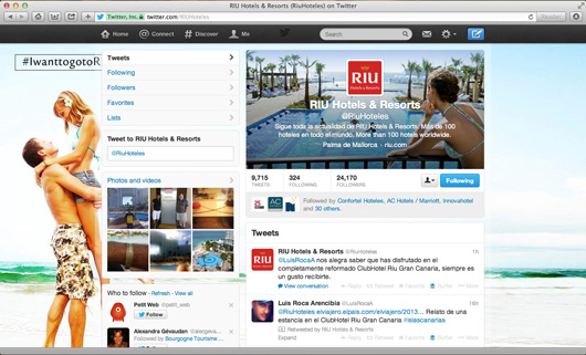 RIU Hotels Twitter page on pc