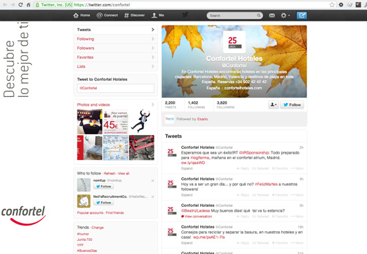 Confortel Hotels Twitter page on pc