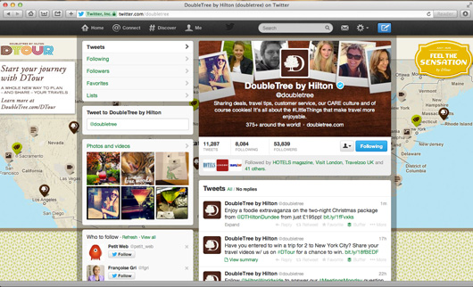 Double Tree Hotels Twitter page on pc