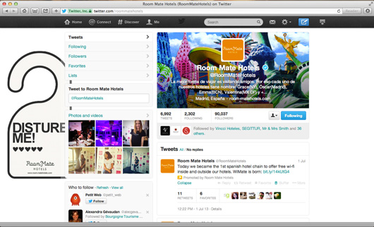 Room Mate Hotels Twitter page on pc