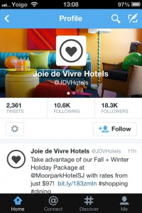 JDV Hotels Twitter page on mobile