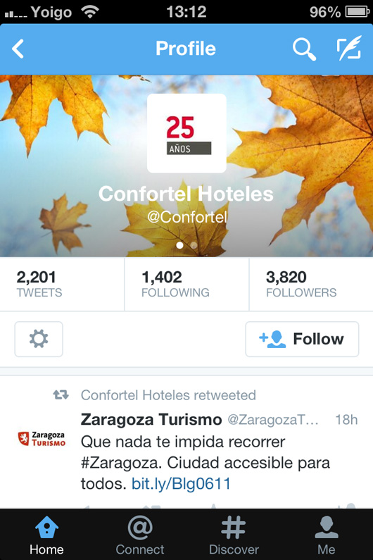 Confortel Hotels Twitter page on mobile