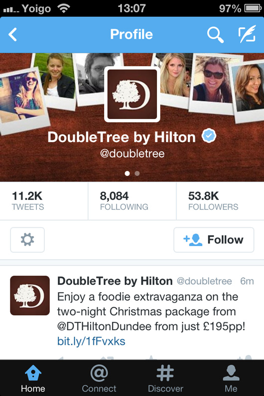 Double Tree Hotels Twitter page on mobile