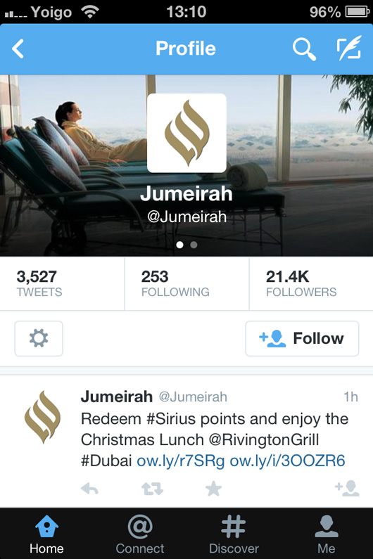 Jumeirah Hotels Twitter page on mobile