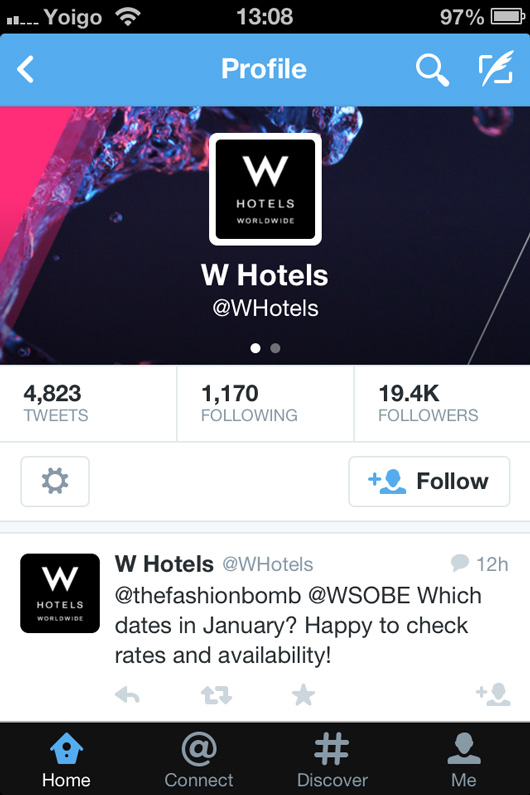 W Hotels Twitter page on mobile